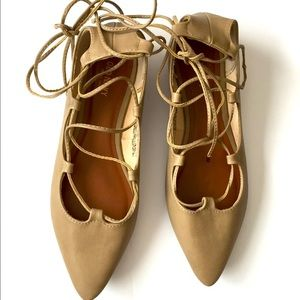 OLD NAVY   nude lace up flats